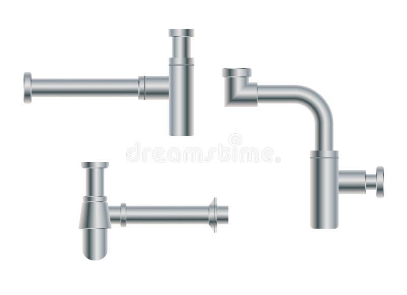 L'ensemble de nikel original européen moderne en métal de conception siphonne illustration de vecteur