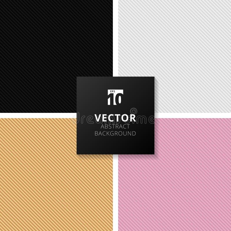 L'ensemble de noir abstrait, blanc, or, gradient rose a barré des lignes illustration libre de droits