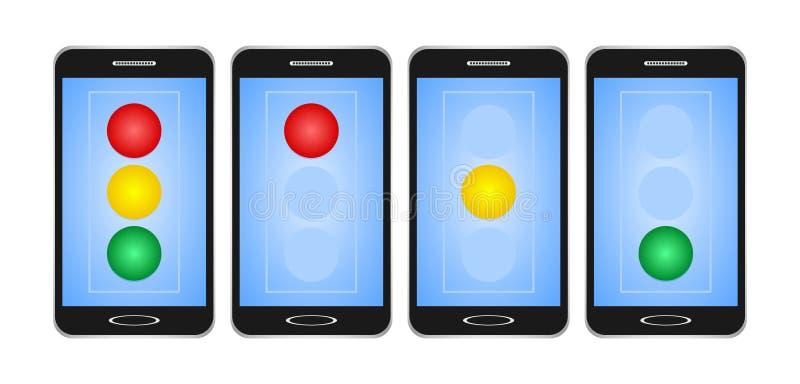 L'ensemble de noir a commuté des smartphones avec l'affichage bleu avec le feu rouge, jaune et vert sur le feu de signalisation s illustration de vecteur