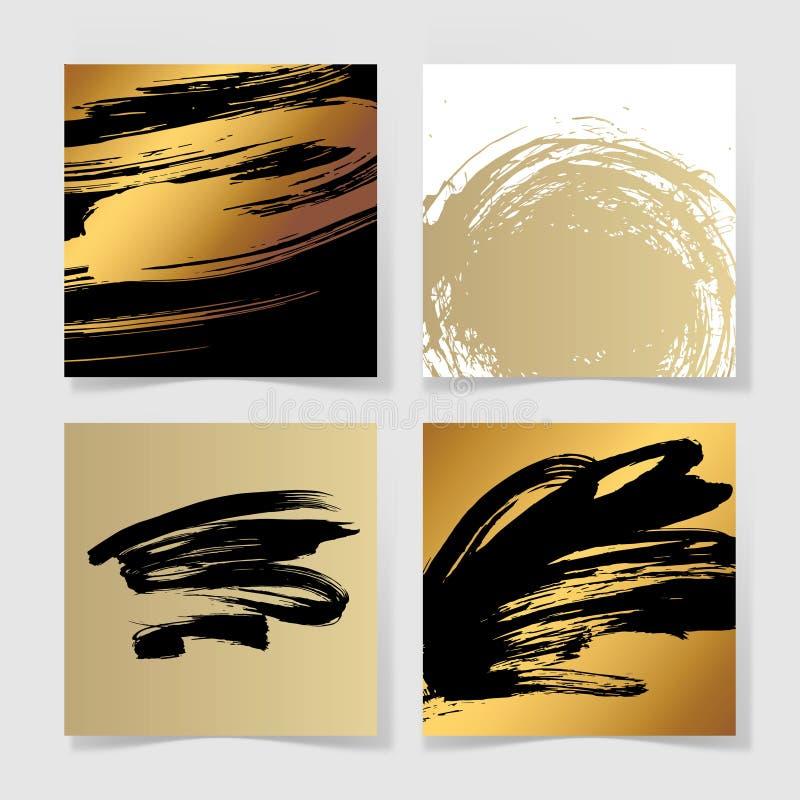 L'ensemble de noir quatre et d'encre d'or balaye le modèle carré grunge illustration stock