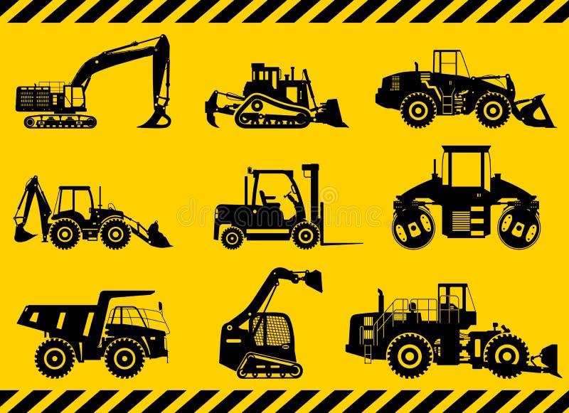 L'ensemble de noir silhouette la construction lourde et les machines d'abattage dans le style plat sur le fond jaune Construction illustration de vecteur