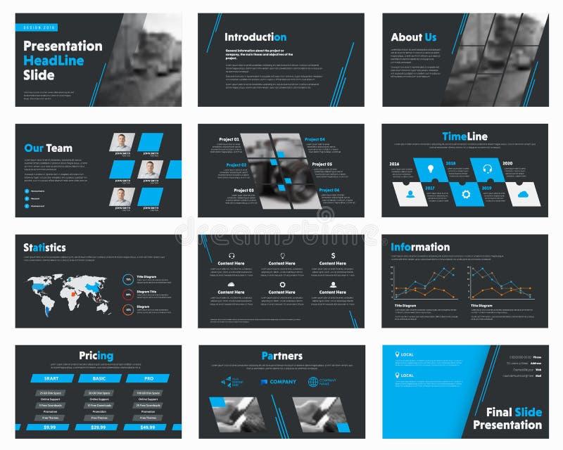 L'ensemble de noir de vecteur glisse avec les éléments bleus de conception pour des affaires illustration stock