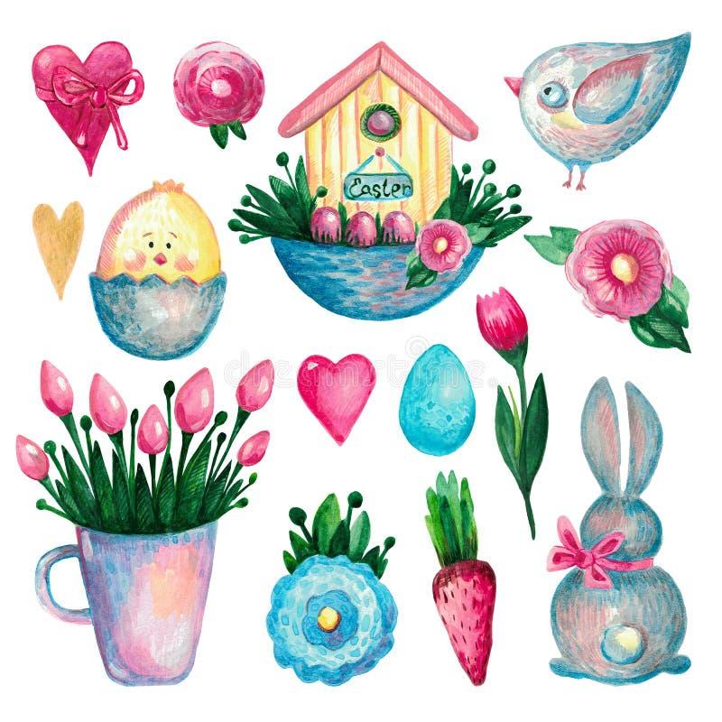 L'ensemble de Pâques de ressort de fleurs de coeur de maison d'oiseau de poussin de lapin d'éléments d'aquarelle s'embranchent su illustration de vecteur