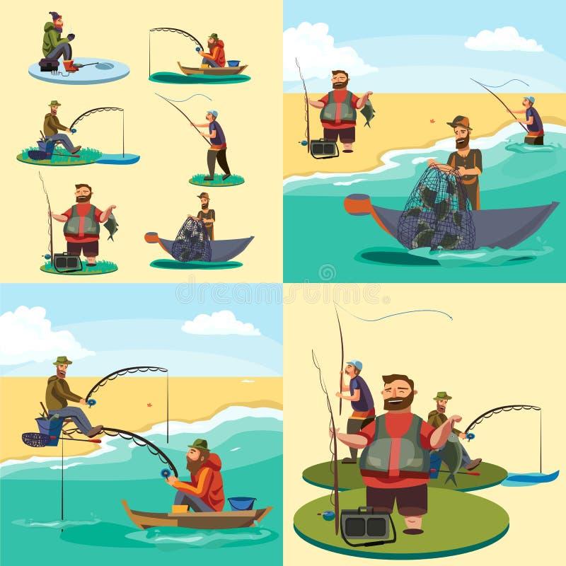L'ensemble de pêcheur s'asseyant de bateau de poissons de crochets de pêcheur de bande dessinée a jeté la canne à pêche dans l'ea illustration de vecteur