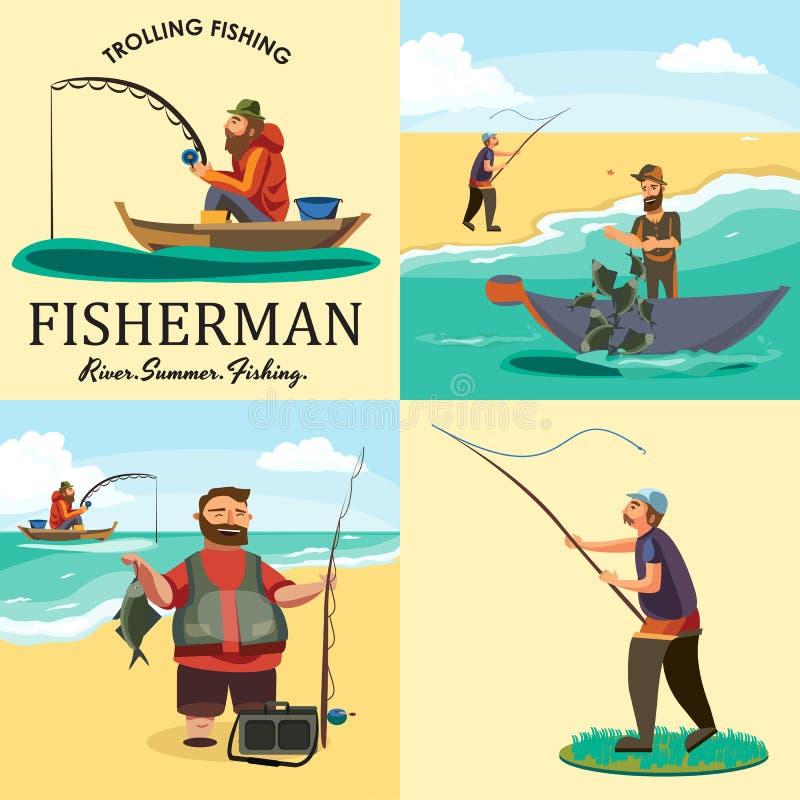 L'ensemble de pêcheur s'asseyant de bateau de poissons de crochets de pêcheur de bande dessinée a jeté la canne à pêche dans l'ea illustration stock