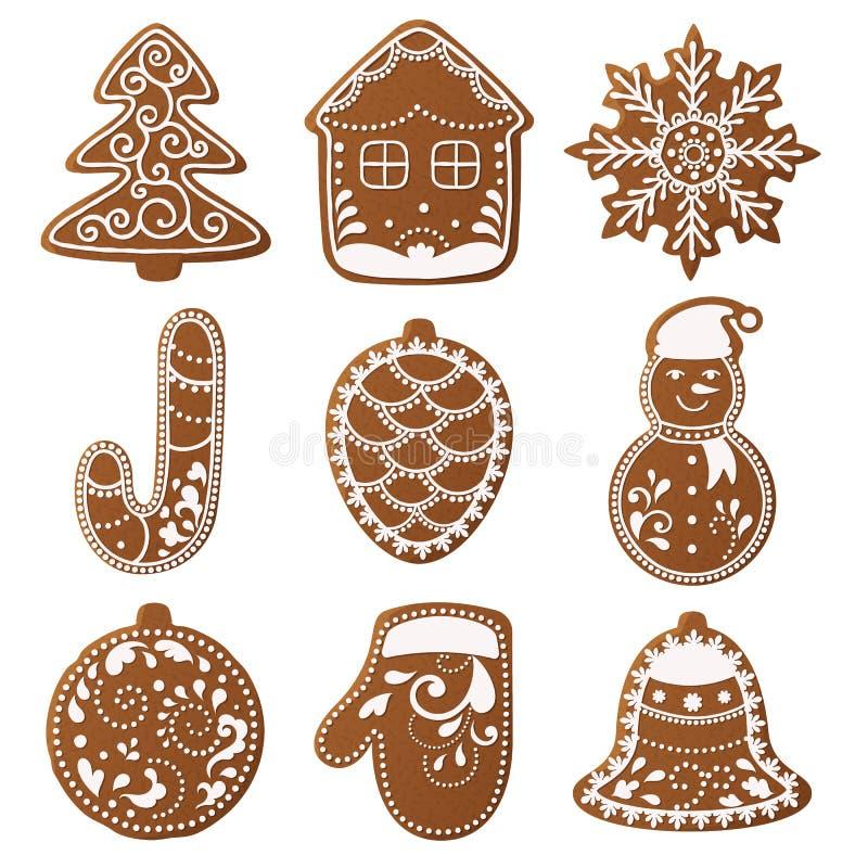 L'ensemble de pain d'épice de Noël a décoré des biscuits Arbre de Noël, flocons de neige, cadeaux Vacances d'hiver illustration stock
