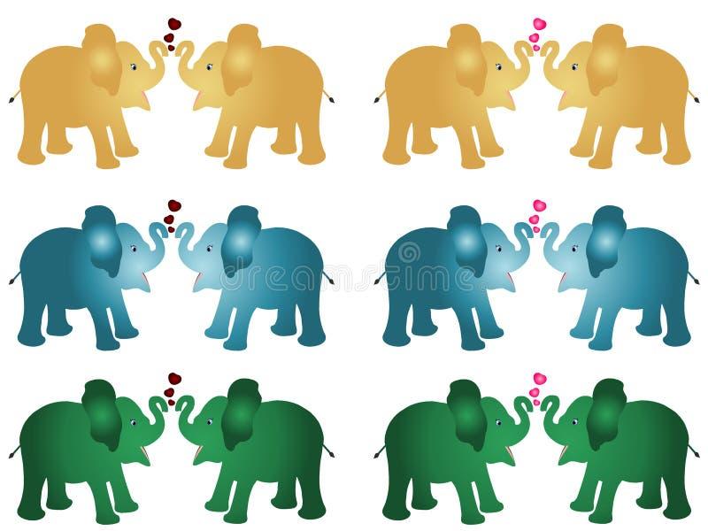 L'ensemble 6 de paires de bande dessinée bleue d'or de bébé de veau d'éléphant de couleur verte dirigent l'illustration avec les  illustration stock