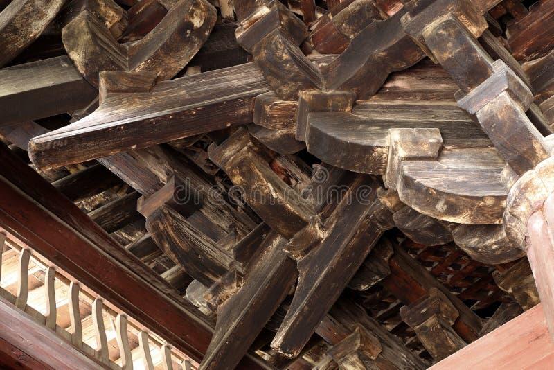 L'ensemble de parenthèse est installé sur un poteau en bois photos stock