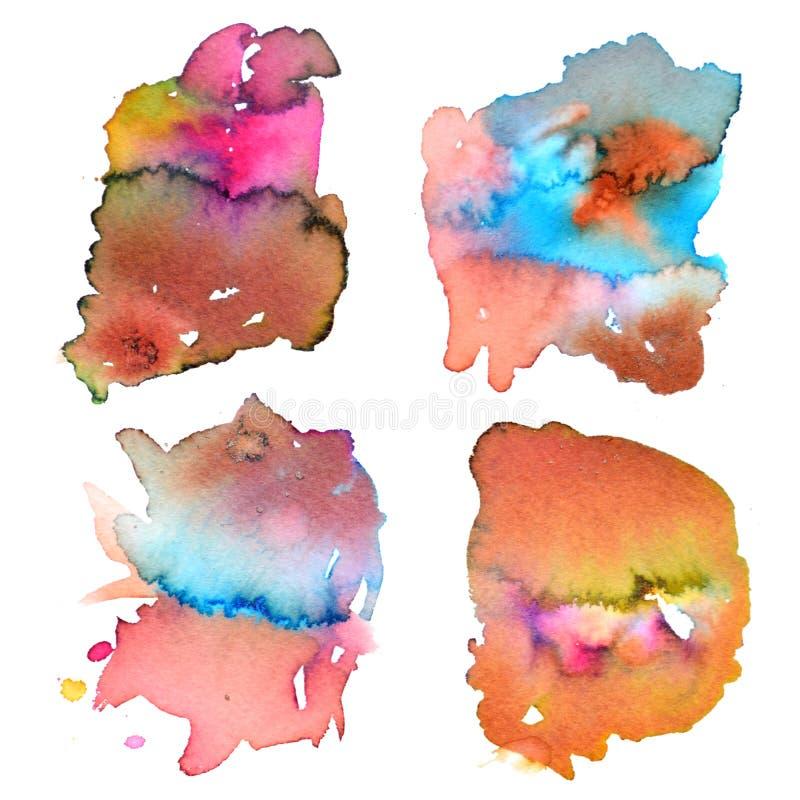 L'ensemble de peinture abstraite de main d'aquarelle éclabousse Baisses d'aquarelle d'isolement sur le fond blanc Illustration pe illustration de vecteur