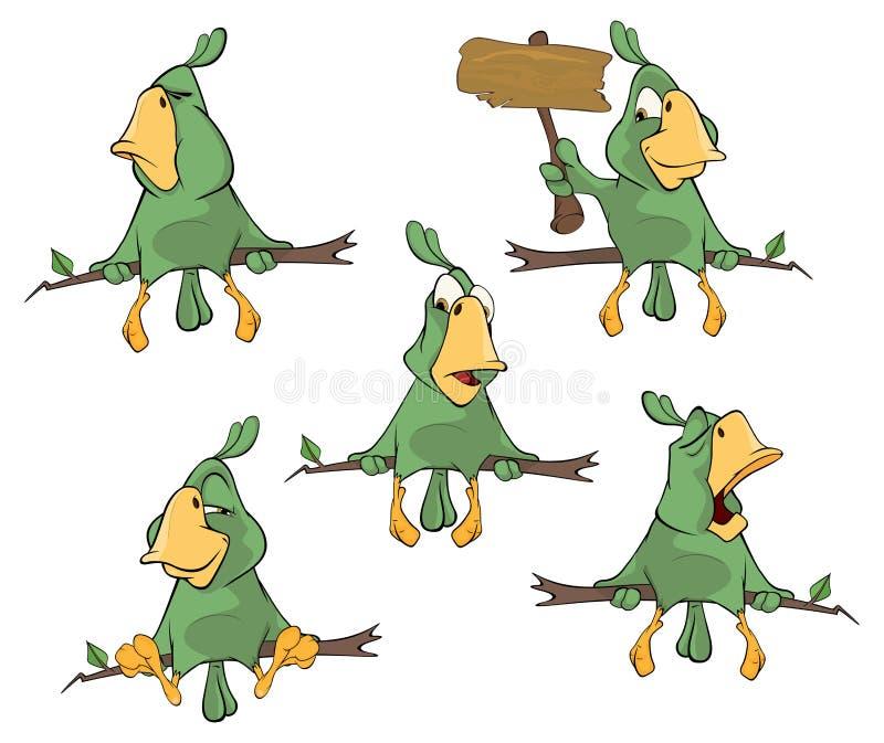 L'ensemble de perroquets verts mignons pour vous conçoivent illustration de vecteur