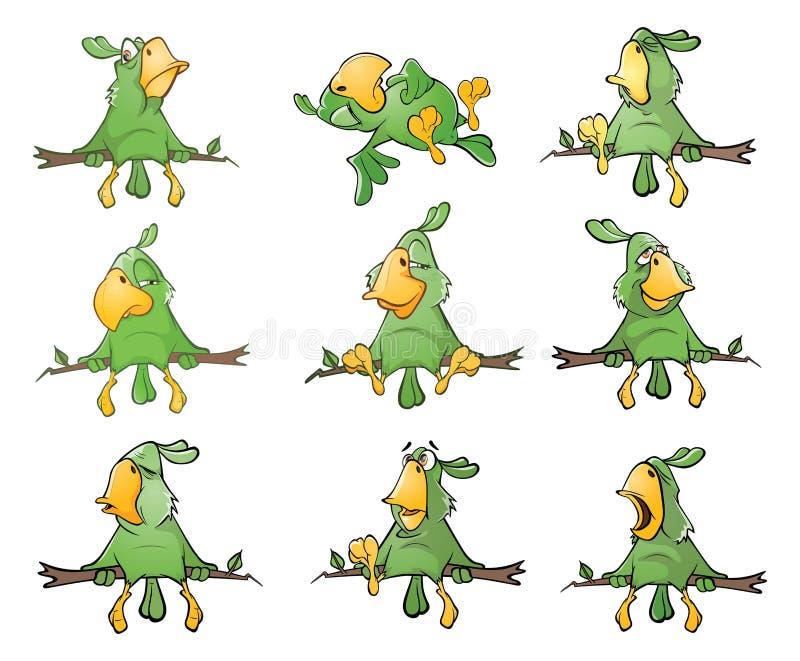 L'ensemble de perroquets verts mignons pour vous conçoivent le chef heureux de crabots mignons effrontés de personnage de dessin  illustration stock