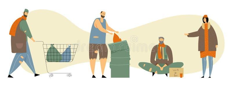L'ensemble de personnes adultes sans abri priant l'argent, a besoin de l'aide et le travail, le mâle et les caractères femelles d illustration stock