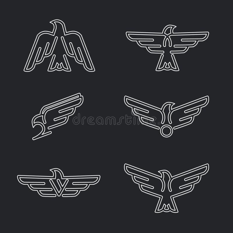 L'ensemble de prédateurs d'oiseaux rayent des icônes et des logos illustration de vecteur