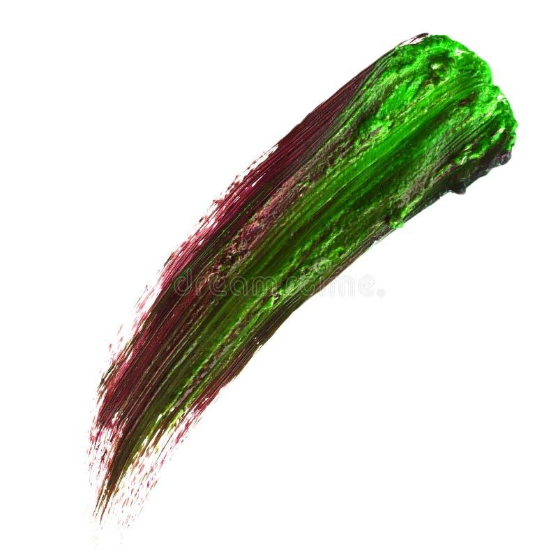L'ensemble de quatre a courbé les courses faites main de brosse de peinture à l'huile d'isolement d'isolement sur le fond blanc T image libre de droits