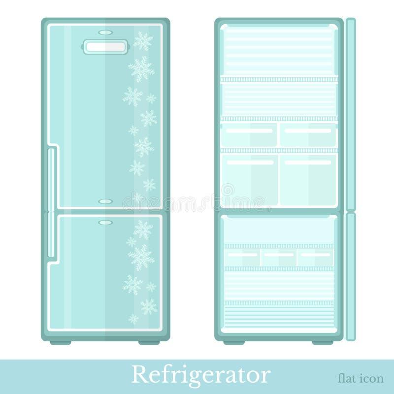 L'ensemble de réfrigérateur vide avec des portes ouvertes et ferment des portes Style moderne plat illustration libre de droits