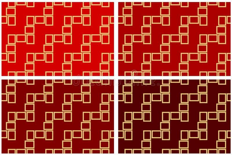 L'ensemble de résumé de quatre textures sans couture de modèle des cadres rectangulaires d'or au-dessus du rouge ombrage l'illust illustration stock