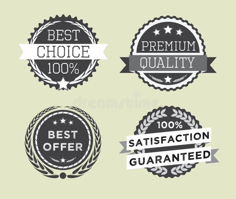 L'ensemble de rétro qualité de la meilleure qualité de vintage badges et des labels illustration libre de droits