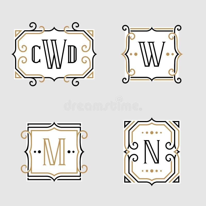 L'ensemble de rétros calibres élégants d'emblème de monogramme illustration stock