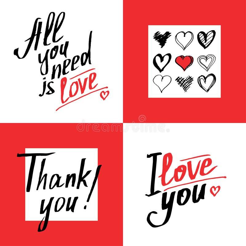 L'ensemble de romantique et d'amour carde le calibre Expressions calligraphiques illustration libre de droits