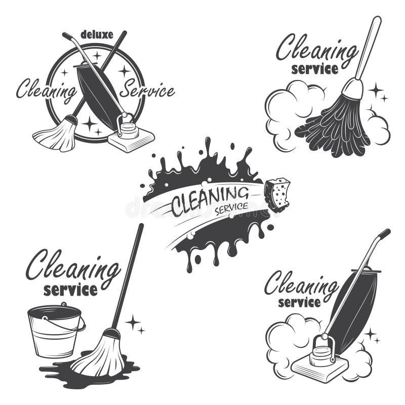 L'ensemble de service de nettoyage symbolise, des labels et illustration de vecteur