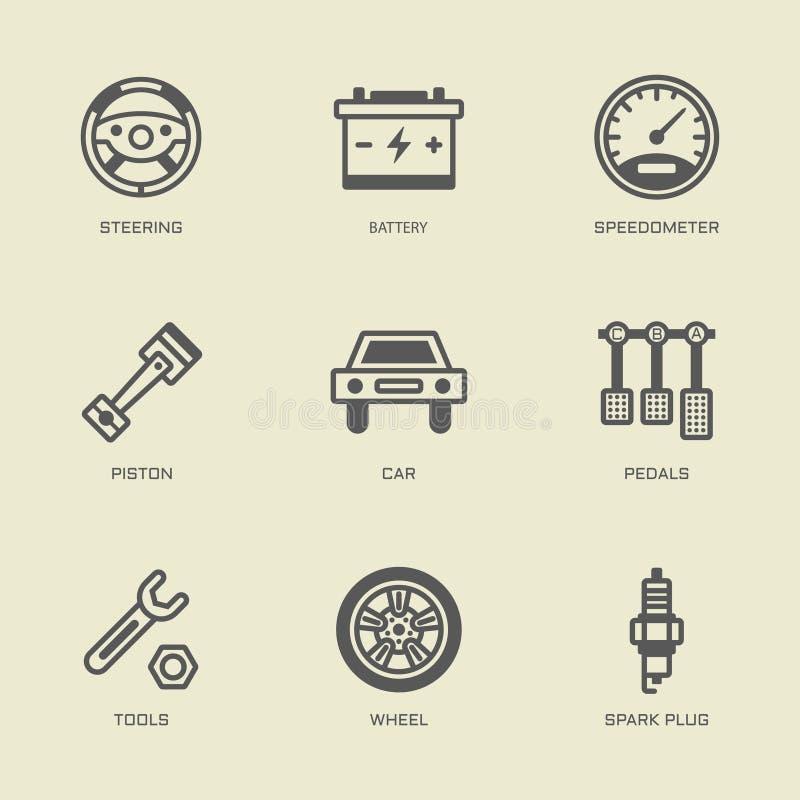 L'ensemble de service de voiture a isolé des icônes d'ensemble de vecteur illustration de vecteur