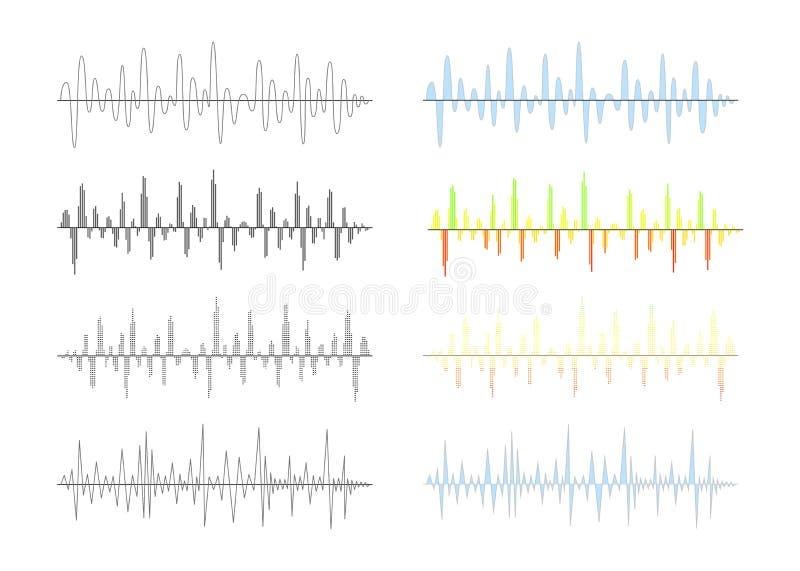L'ensemble de signal numérique analogue et différent ondule des graphiques sur le blanc illustration libre de droits