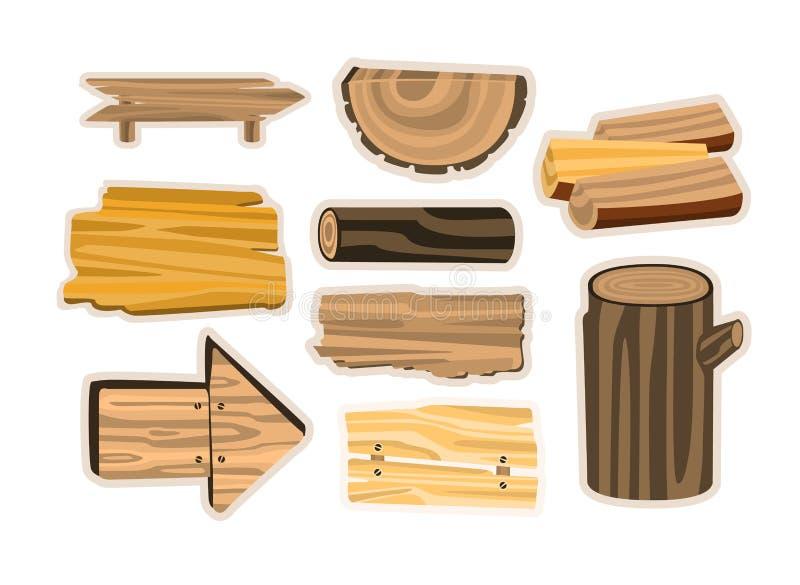 L'ensemble de signe en bois embarque, des planches, rondins Illustrations en bois de vecteur de matériaux illustration de vecteur