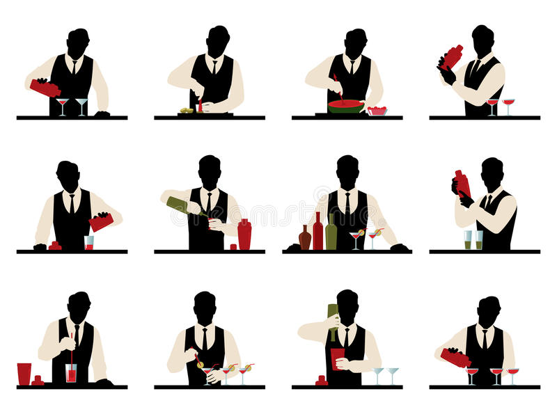 L'ensemble de silhouettes d'un barman prépare le stoc de vecteur de cocktails illustration de vecteur