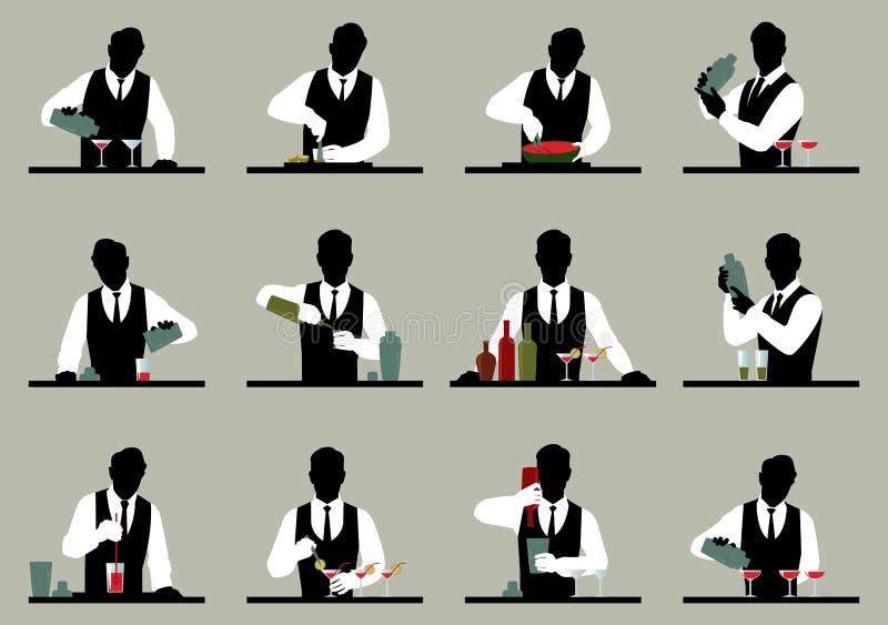 L'ensemble de silhouettes d'un barman prépare le vecto courant de cocktails illustration stock