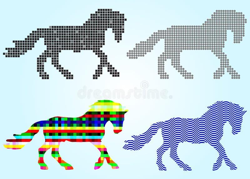 L'ensemble de silhouettes de cheval ajuste, des cercles, vagues illustration libre de droits
