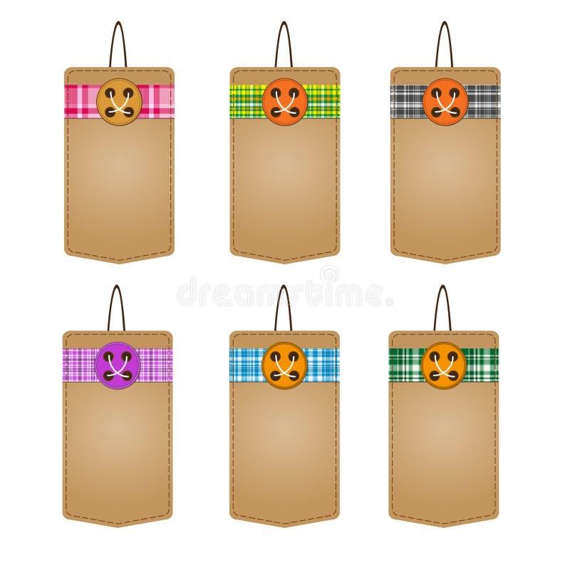 L'ensemble de six vecteurs a tricoté le prix à payer avec l'imitation de tissu avec le dégagement de finale de boutons Style rétr illustration stock