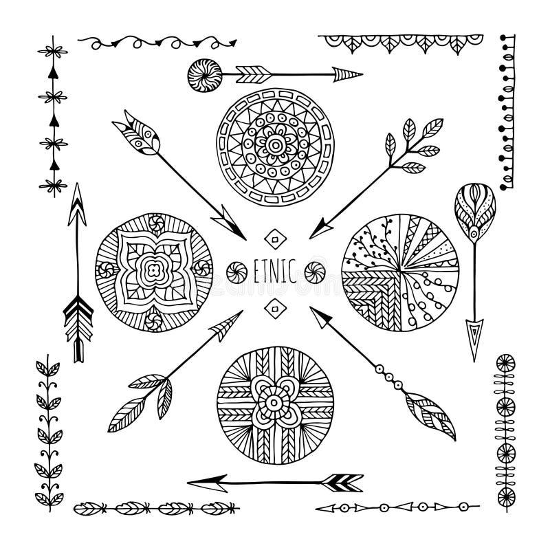 L'ensemble de style créatif de Boho vue Mady par ethnique illustration stock