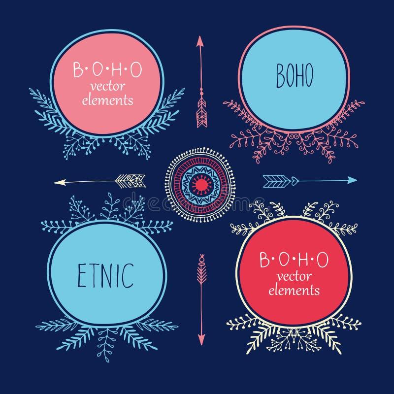 L'ensemble de style créatif de Boho vue Mady par ethnique Flèches et éléments floraux illustration libre de droits