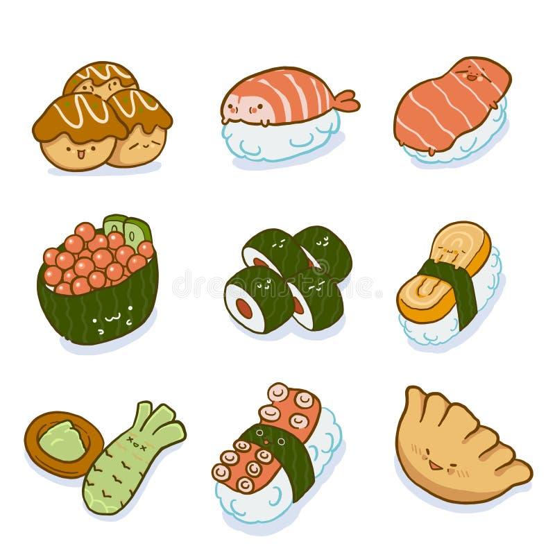 L'ensemble de sushi, caractère japonais de nourriture, dirigent les éléments graphiques images libres de droits