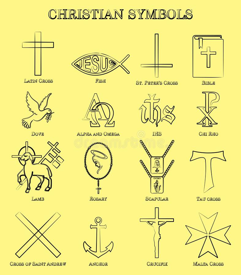 L'ensemble de symboles chrétien avec le contour aiment des traçages illustration de vecteur