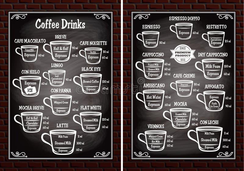 L'ensemble de tasses avec du café différent boit pour le menu de restaurant illustration de vecteur