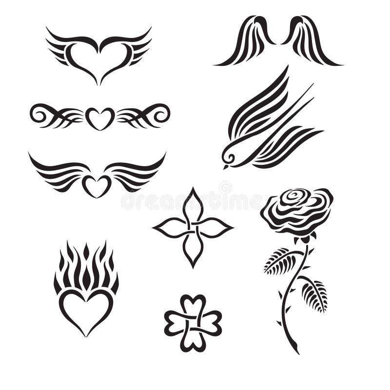 L'ensemble de tatouage tribal comprenant des coeurs, a monté, swall illustration stock