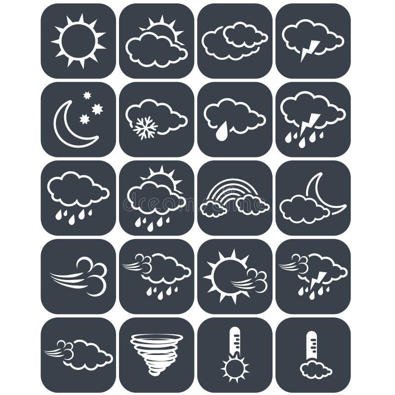 L'ensemble de temps gris-foncé se boutonne, des éléments de prévision, ligne la conception - icône du soleil, nuage, pluie, lune, illustration libre de droits