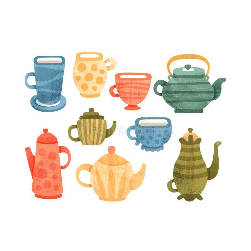 L'ensemble de temps de thé, la collection de tasses, les tasses, le café et les théières dirigent des illustrations sur un fond b illustration libre de droits
