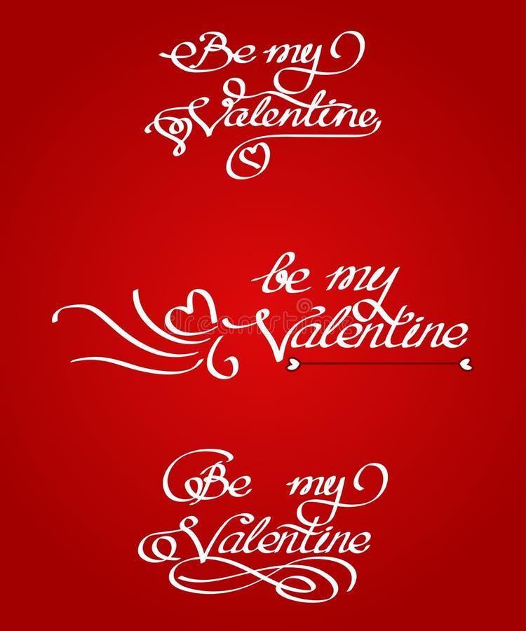 L'ensemble de texte manuscrit avec des boucles soit mon Valentine, illustration stock