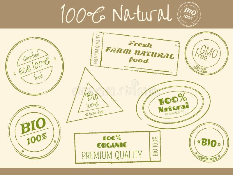 L'ensemble de timbres impriment dans le rétro style pour des épiceries de ferme illustration libre de droits