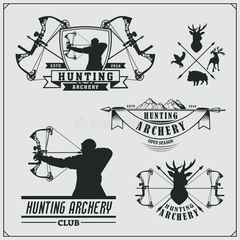 L'ensemble de tir à l'arc folâtre des emblèmes, des labels et des éléments de conception illustration stock