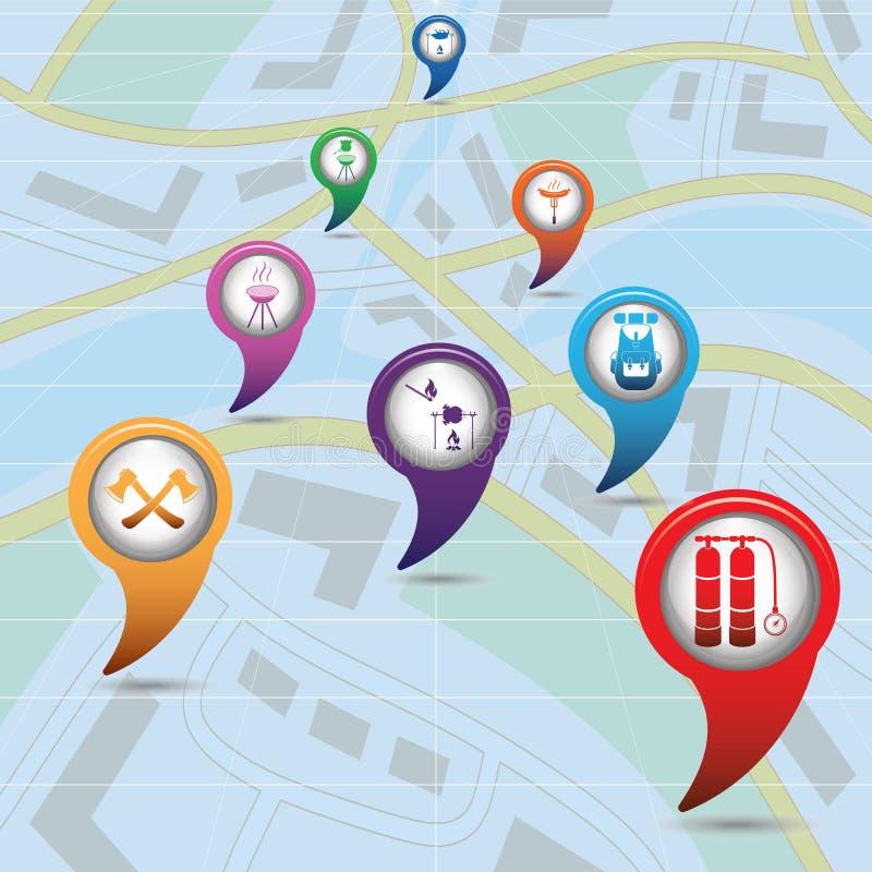 L'ensemble de tourisme entretient des indicateurs de carte sur la carte illustration de vecteur