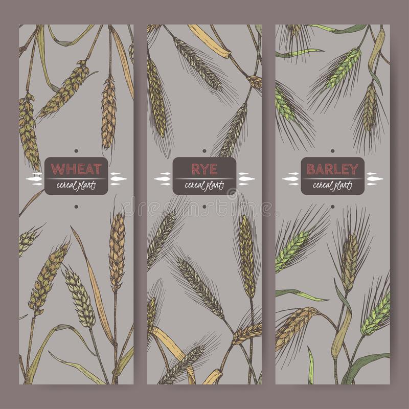 L'ensemble de trois labels avec le froment panifiable, le seigle et l'orge colorent le croquis La céréale plante la collection illustration de vecteur