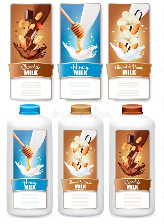 L'ensemble de trois labels de lait de chocolat et de vanille éclabousse illustration libre de droits