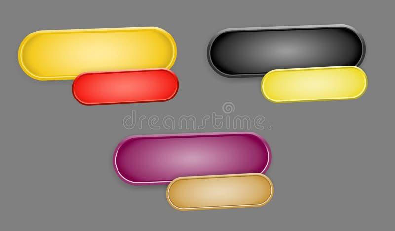 L'ensemble de trois paires ovales de boutons illustration libre de droits