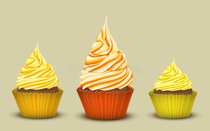 L'ensemble de trois petits gâteaux de prix-gain illustration de vecteur