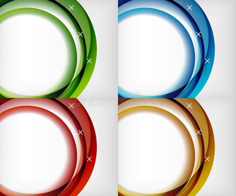 L'ensemble de vagues en verre brillantes, dirigent les milieux abstraits, calibres brillants d'effets de la lumière pour la banni illustration stock