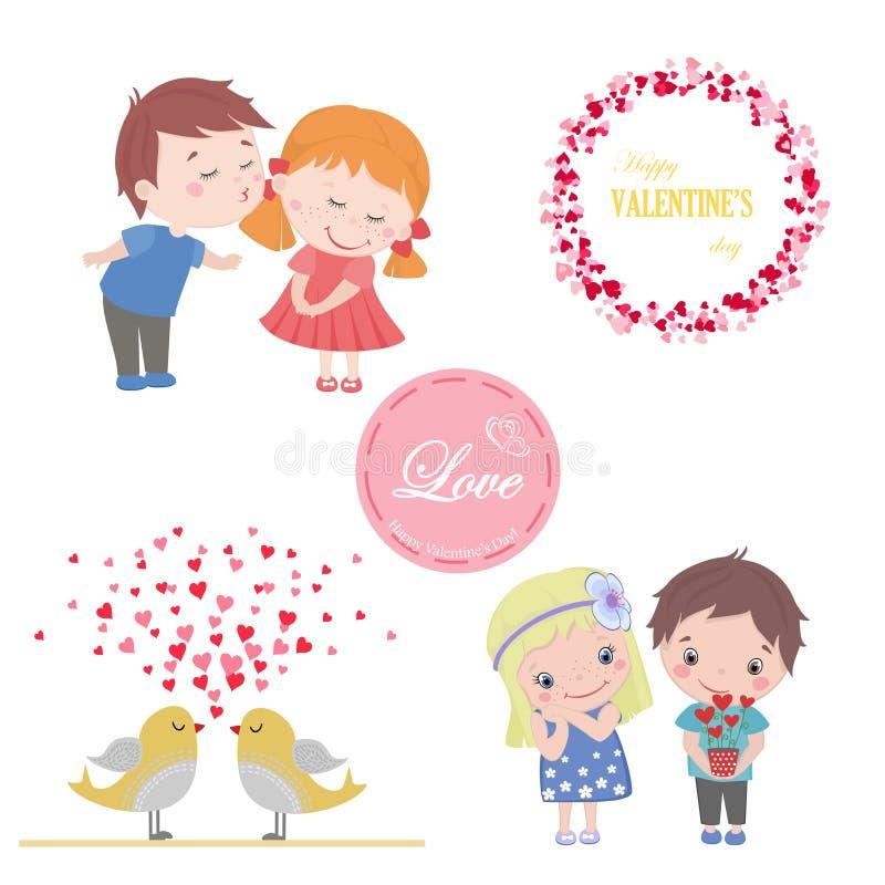 L'ensemble de Valentine d'images pour la carte de voeux avec la bande dessinée mignonne a isolé le garçon et la fille, oiseaux d' illustration de vecteur