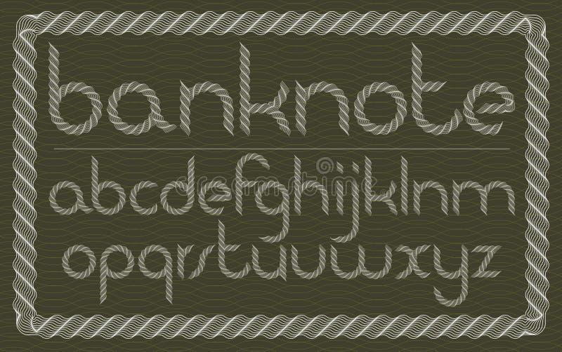 L'ensemble de vecteur a arrondi les lettres minuscules d'alphabet anglais d'isolement créées utilisant le modèle de guilloche, fi illustration de vecteur